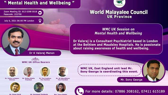 World Malayalee Council UK, Mental Health And Wellbeing